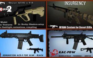 Left 4 Dead 2 — новые модели оружия — Ruger SR-552, LVOA-Carbine, Colt m16a4, KAC-PDW, Remington ACR-E, Steyr AUG, Norinco QBZ-95
