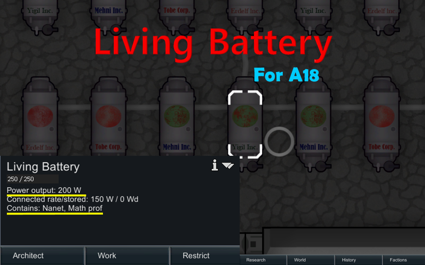 RimWorld - Living Battery (Энергия из человека)