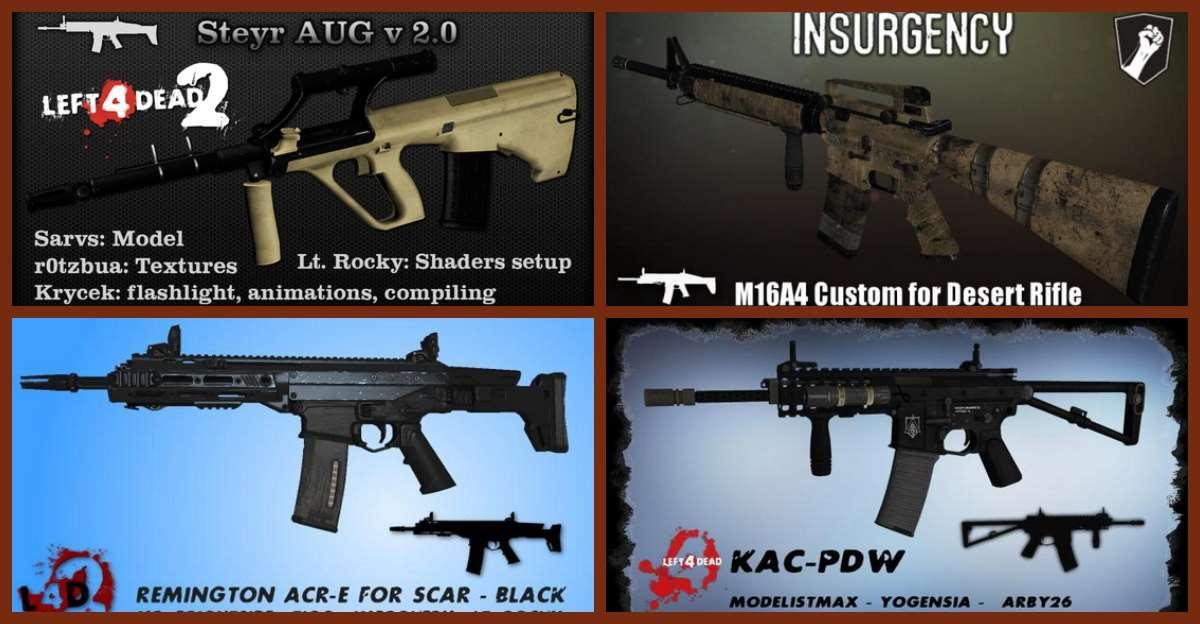 Left 4 Dead 2 — новые модели оружия — Ruger SR-552, LVOA-Carbine, Colt m16a4, KAC-PDW, Remington ACR-E, Steyr AUG, Norinco QBZ-95 | Left 4 Dead 2 моды