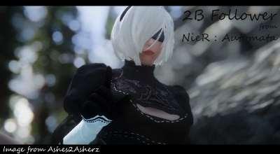 Skyrim — Спутница 2B из игры NieR: Automata   Skyrim моды
