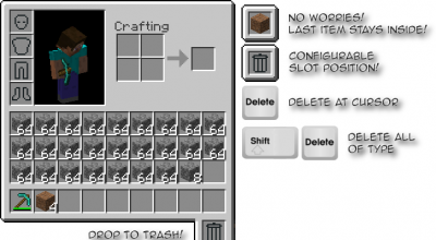 Minecraft — TrashSlot для 1.7.10, 1.8 / Мусорная ячейка | Minecraft моды