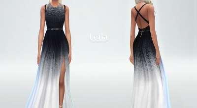 Sims 4 — Элегантное длинное платье Gradient dress Leila with side cutout | The Sims 4 моды