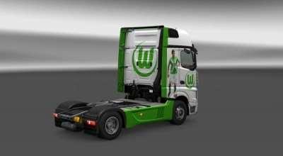 ETS 2 — «Футбольный» скин для Mercedes (Mercedes MP4 VFL Wolfsburg Skin) | ETS2 моды