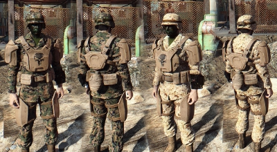 Fallout 4 — Ретекстур боевой брони (USMC MARPAT Camo Army Fatigues)   Fallout 4 моды