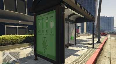 GTA 5 — Ретекстур автобусных остановок (Weed Bus Stop)   GTA 5 моды