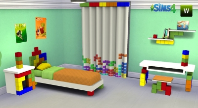Sims 4 — Детская комната в стиле тетриса | The Sims 4 моды