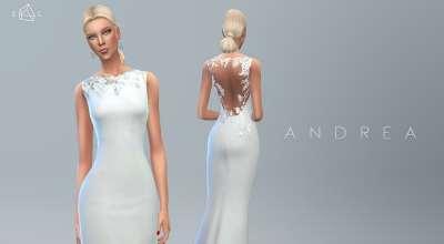 Sims 4 — Свадебное платье Wedding Dress ANDREA | The Sims 4 моды