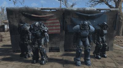 Fallout 4 — Раскраска Минитменов для всей силовой брони (Minuteman Painting for ALL Power Armors)   Fallout 4 моды